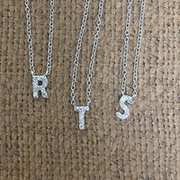 "Perfect Lil  1/4"" CZ Initial Necklace"