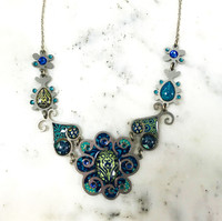 Large Blue Flower Necklace
