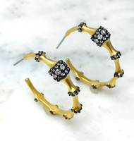 Two-Tone Crystal Studded Bamboo Hoop