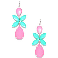 Long Pink and Turquoise Statement Danglers