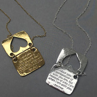 Love Note Heart Shaped Necklace in Silver and Gold