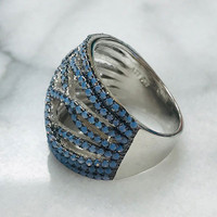 Blue Opal Wide Waves Ring