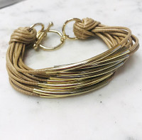Tan/Gold Bar Bracelet