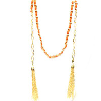 Orange Woven Leather Tassel Lariat Necklace