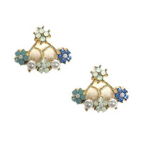 Pearl and Flower Front and Back Design Earring 1