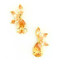 Crescent Leaves and Teardrop Topaz Earring