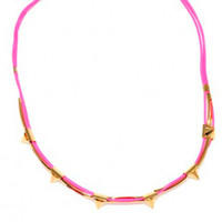 Pink Cord with Golden Points Necklace