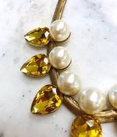 Topaz Teardrops and Pearls Necklace