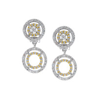 Double Circle Clip-On C.Z. Earring
