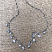 Pearl and Crystal Charm Necklace