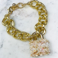 Boucle Fabric Lock and Links Bracelet in Gold