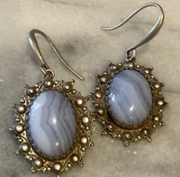 Light Blue Lacey Oval Earring