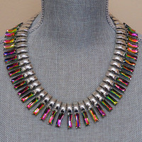 Silver and Multi-Crystal Inca Collar