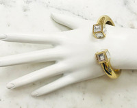Crystal Cube Open End Gold Bangle