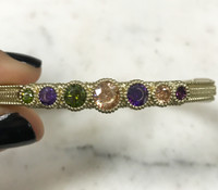 Matte Bangle with Multicolor Cubic Zirconia Stations