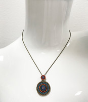 Seville Small Medallion Necklace Blue/Orange