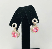 Pink Circle Petite Drop Earrings Silver