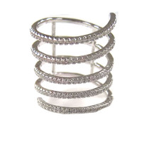 Silver Pave 5 Band Spiral Ring