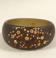 Brown Lucite Bangle With Inset Crystals