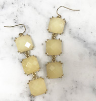 Three Linked Off White Squares Earring