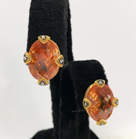 Large Oval Topaz Crystal In Gold