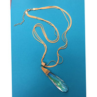Large Wishing Crystal Pendant Necklace in Gold