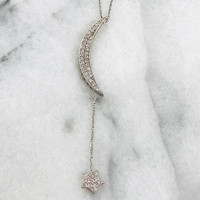 Sterling & C.Z. Crescent Moon with Star Dangle