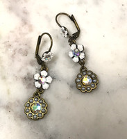 Antiqued Brass Flower Earring White