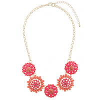 Private Label Coral & Pink Flower Necklace