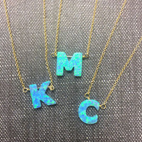 Blue Opal Initial Letter Necklace with Gold Chain