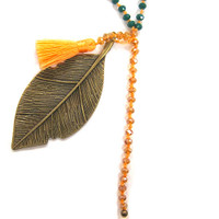 Zacasha's Crystals, Leaves and Orange Tassels Necklace