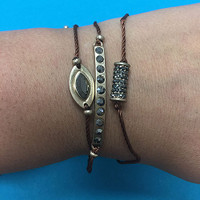 Brown Silk Cord Bracelet Charm Trio
