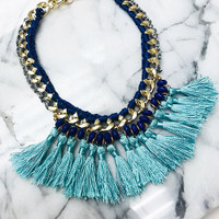 Turquoise Tassels on Bold Gold Chain