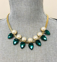 Emerald Teardrops and Pearls Necklace