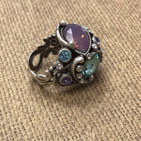 Crystal Pastel Deco Ring in Antique Silver