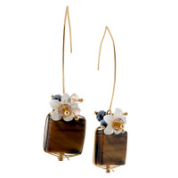 Square Tiger's Eye Earring