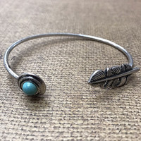 Feather and Turquoise Open Cuff