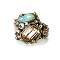 Crystal Pastel Deco Ring in Bronze