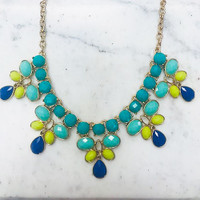 Turquoise and Yellow Five Pointed Bib Necklace