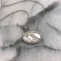 Mother-of-Pearl Oval Necklace