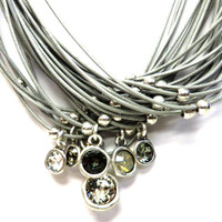 Multi-Stone, Multi-Strand Necklace GRY
