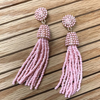 Light Pink Beaded Button & Tassel Earring