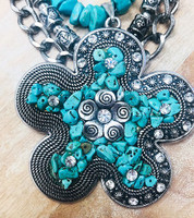 Large Statement Turquoise Flower Necklace