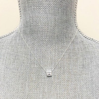 Square Crystal Solitaire Necklace