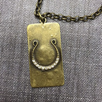 Triple Chain Lucky Horseshoe Dog Tag necklace