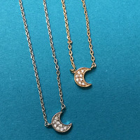 Our Mini Crescent Moon Cubic Zirconia Necklace