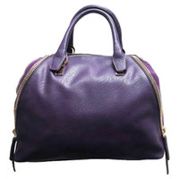 Sondra Roberts Nappa Leather and Suede Satchel In Purple