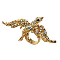Marcasite Swooping Bird Ring Gold