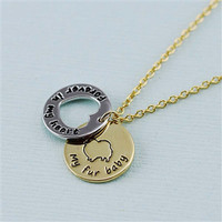"""Pomeranian """"Fur Baby"""" Forever in Our Hearts Necklace"""