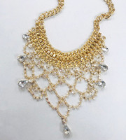 Crystal and Metal Net Bib Necklace Gold